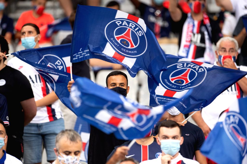 Saint-Fans are seen during the French League Cup final football match between Paris Saint-Germain and Olympique Lyonnais at the Stade de France in Saint-Denis, France, ...