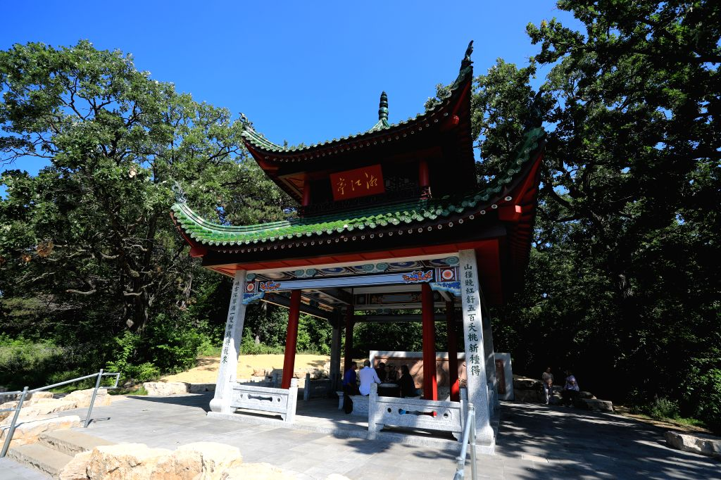 SAINT PAUL (U.S.), Nov. 21, 2019 Photo taken on Aug. 6, 2019 shows an open air pavilion, a replica of the famed Aiwan Pavilion in China's Changsha, at the China garden in St. Paul, the ...