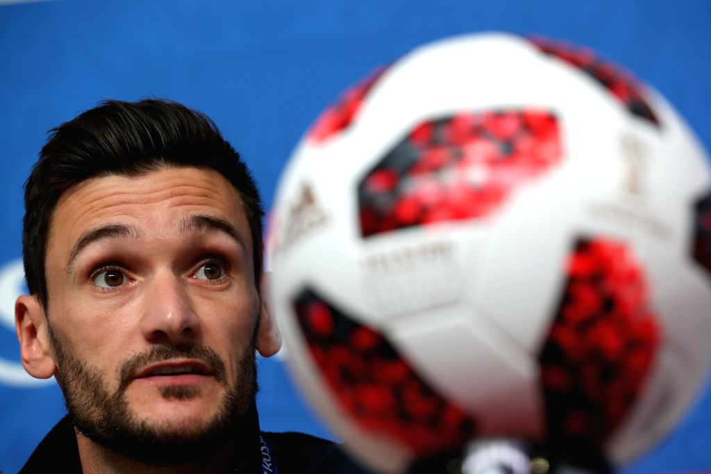 SAINT PETERSBURG,July 9, 2018 (Xinhua) -- France's Hugo Lloris attends a press conference prior to the 2018 FIFA World Cup semi-final between France and Belgium in Saint Petersburg, Russia on July 9, 2018. (Xinhua/Lu Jinbo/IANS)