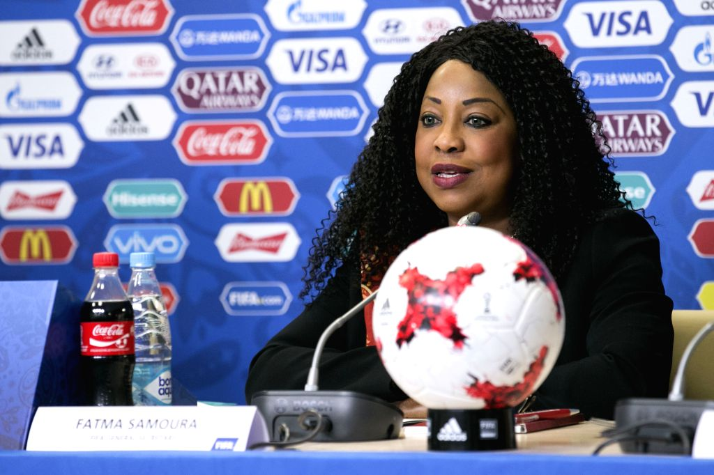 SAINT PETERSBURG, June 16, 2017 (Xinhua) --  FIFA Secretary General Fatma Samoura speaks during a press conference before the FIFA Confederations Cup 2017 in Saint Petersburg, Russia, June 16, 2017. (Xinhua/Bai Xueqi/IANS)