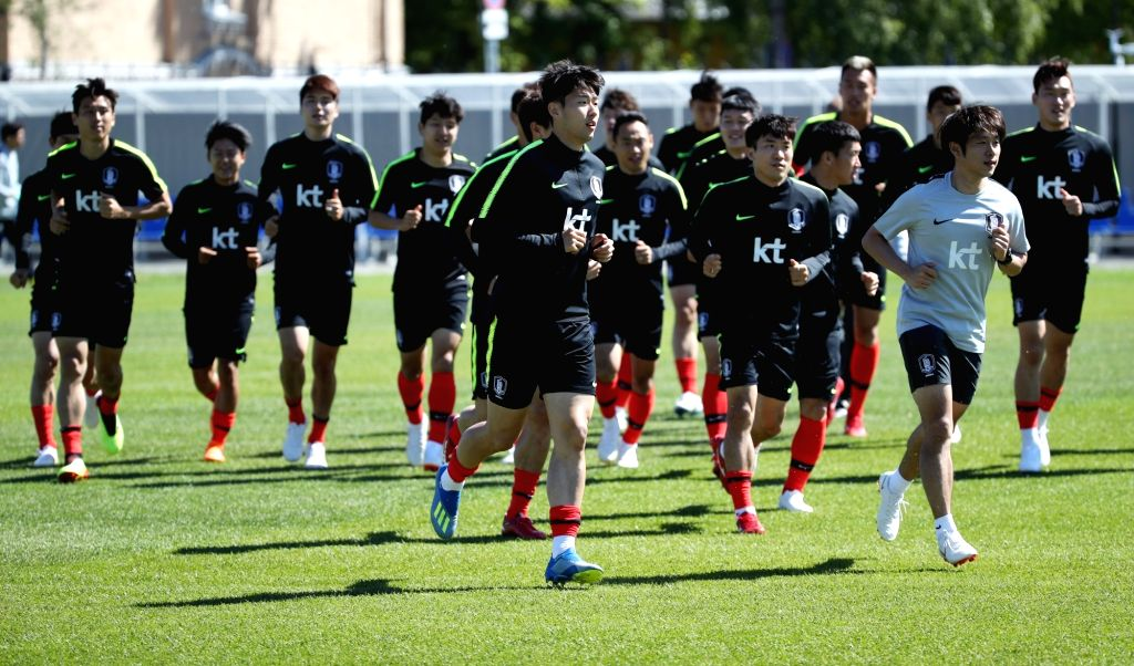 Saint Petersburg: Members of the South Korean national football team train at Spartak Stadium in Lomonosov, a suburb of Saint Petersburg, on June 14, 2018. The South Korean team will open their Group ...