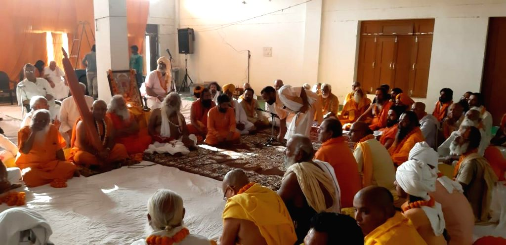 Saints during a meeting of the Vishwa Hindu Parishad (VHP) over the construction of Ram temple, underway in Uttar Pradesh's Ayodhya on June 3, 2019.