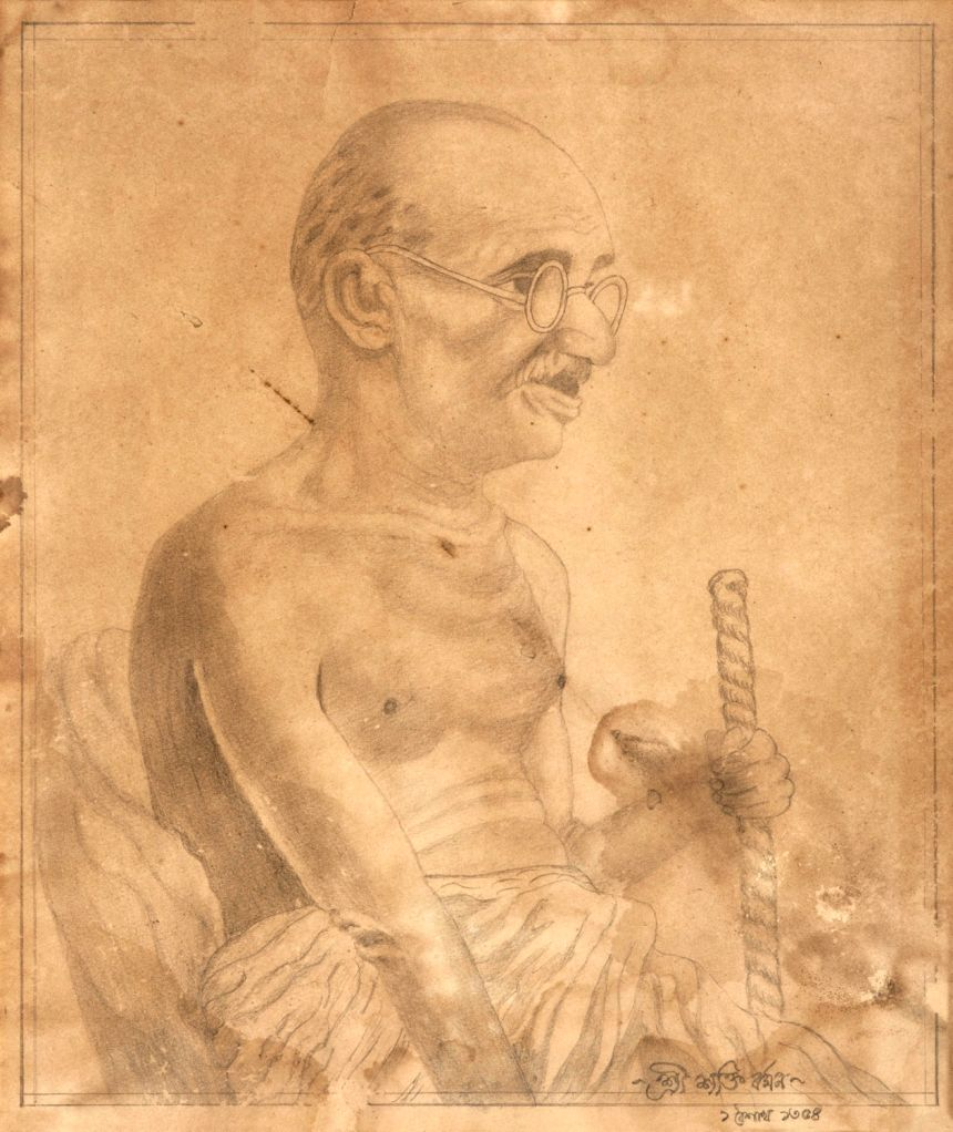 Sakti Burman, Gandhi, Drawing, 37 x 31 Cms, 1940 copy (Custom)