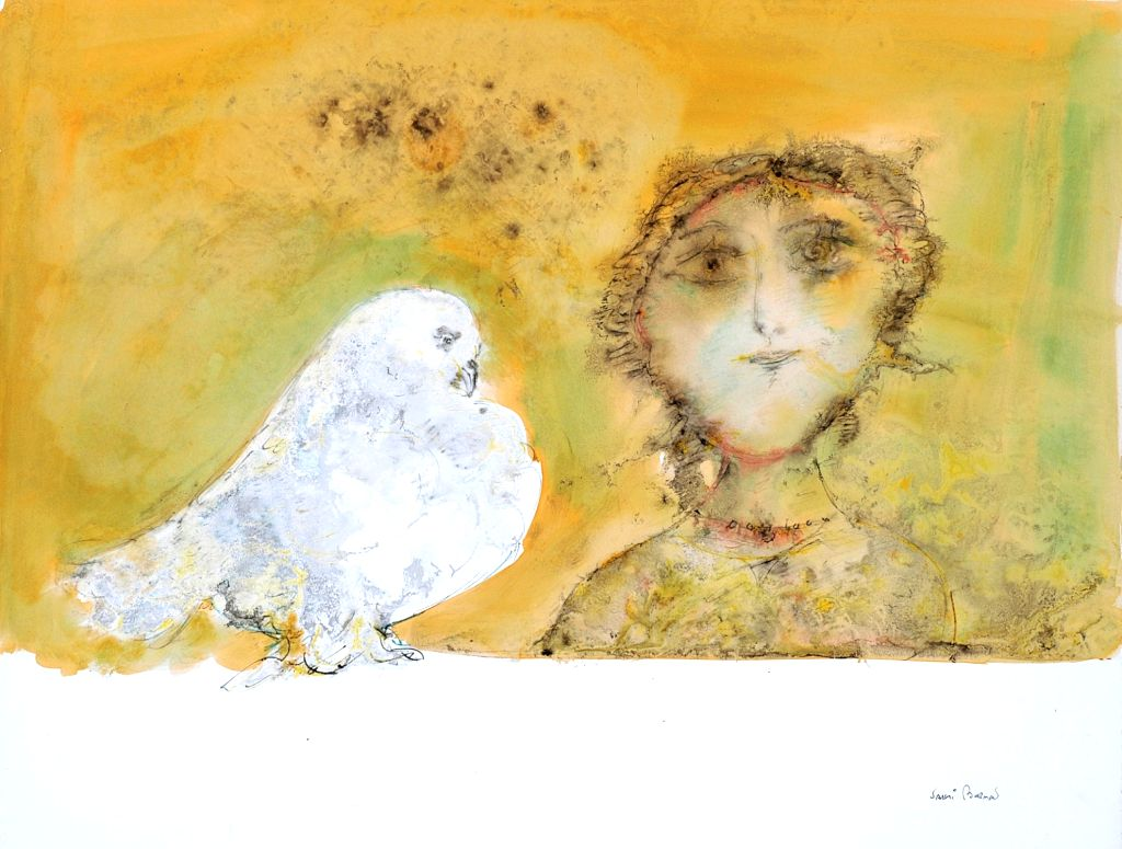 Sakti Burman, Young Girl with Pigeon, Watercolour on Paper, 49 x 63 Cms, 1970 copy (Custom)