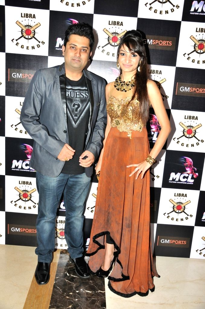 Salil Acharya with Pooja Jhunjhunwala at the launch of Libra Legends Masters Champions League (MCL) team in Mumbai on Nov  30, 2015