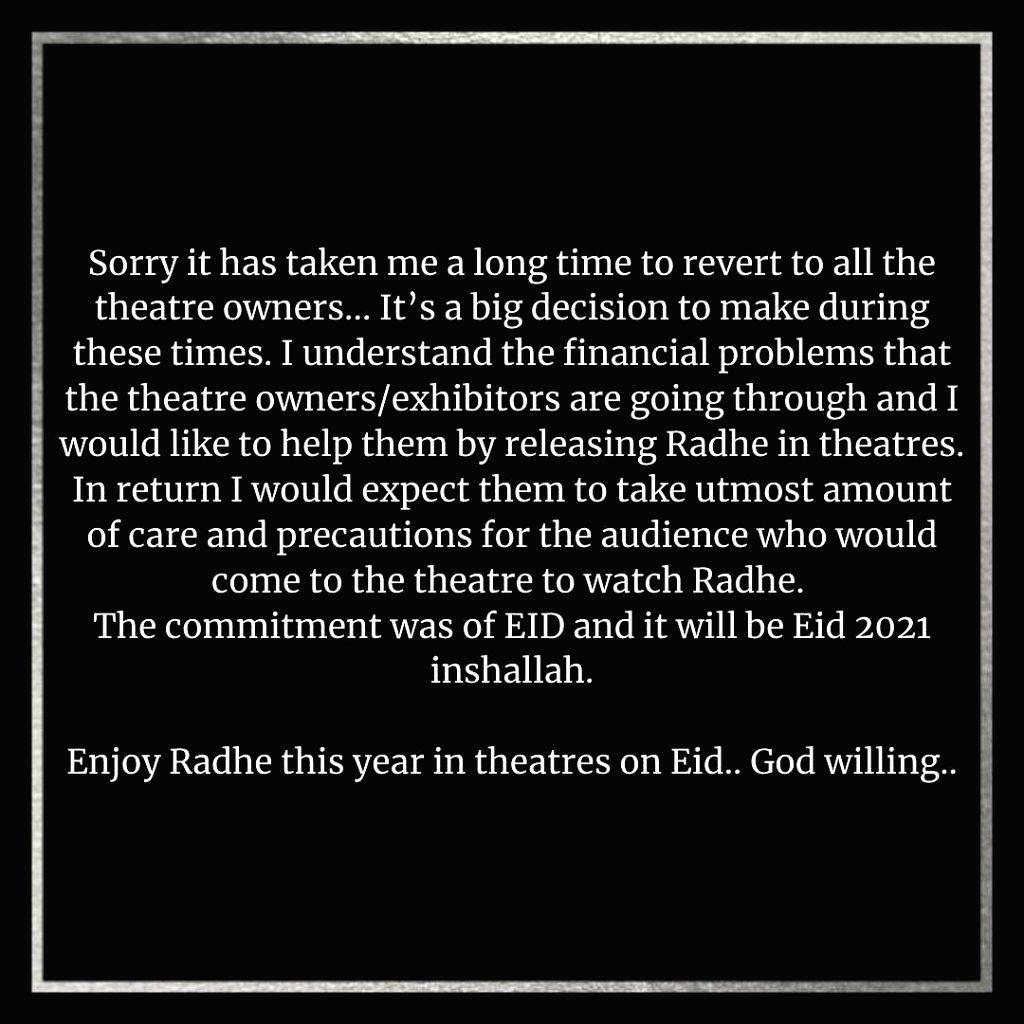 Salman Khan confirms 'Radhe' for theatrical release on Eid. (photo:instagram) - Salman Khan
