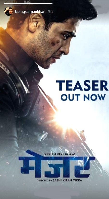 Salman Khan launches Hindi teaser of 'Major' - Salman Khan