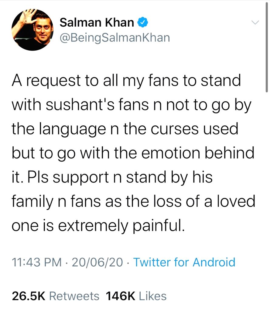 Salman requests fans to stand with Sushant Singh Rajput's  family, fans. - Sushant Singh Rajput