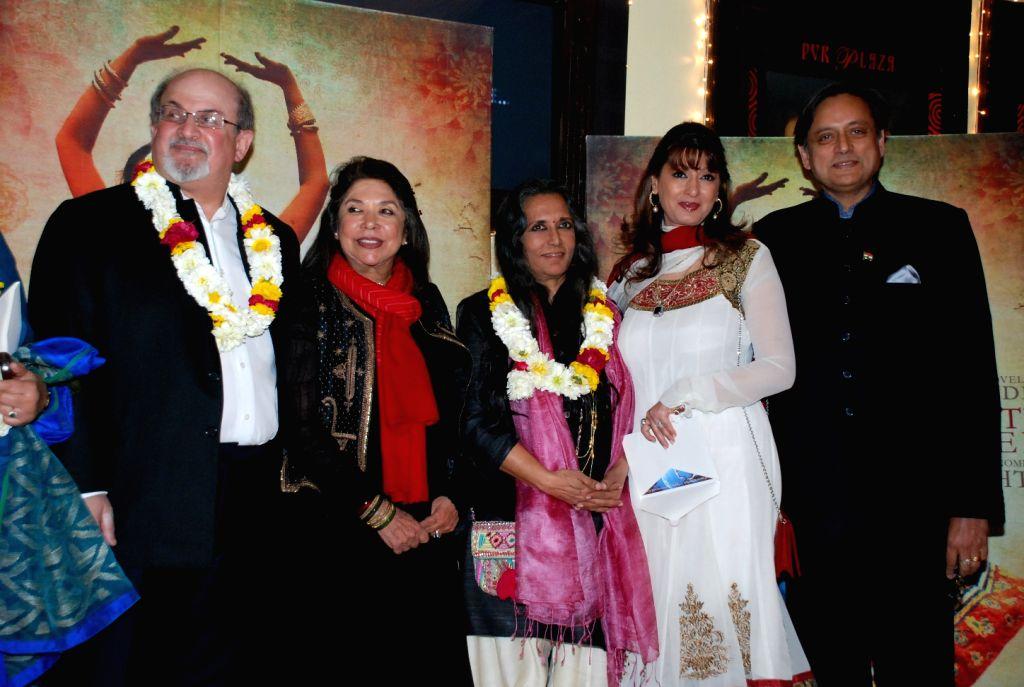 Salman Rushdie, Deepa Mehta, Ritu Kumar, Sunanda Pushkar and Shahi Tharoor. - Deepa Mehta and Ritu Kumar