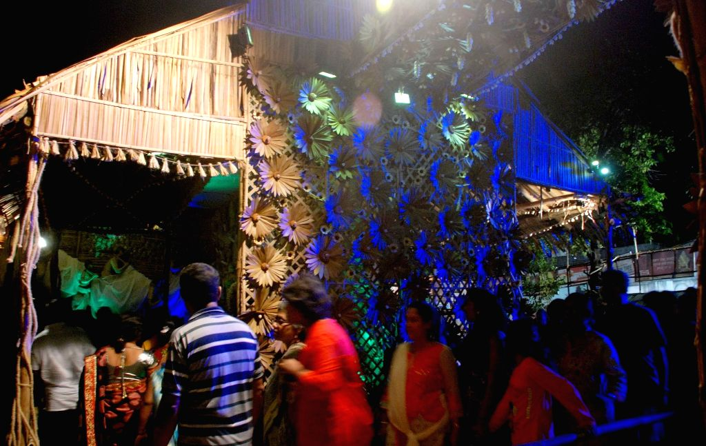 Salt Lake AK Block Durga Puja Pandal in Kolkata, on Oct 7, 2016.