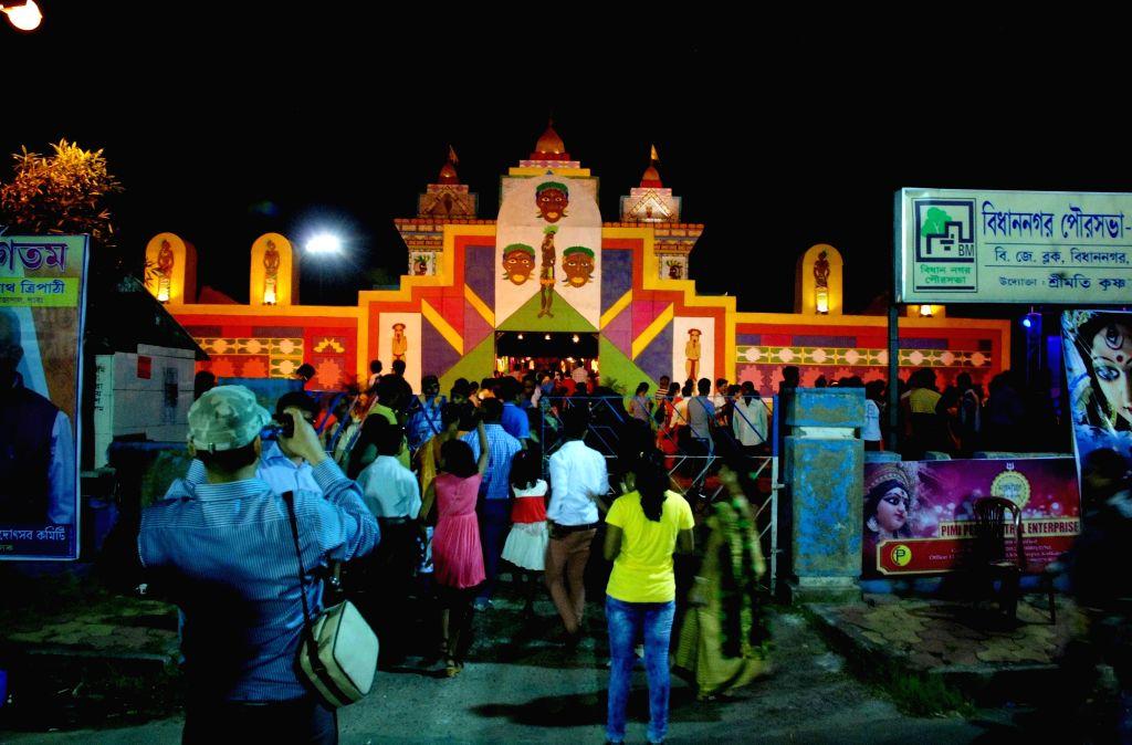 Salt Lake BJ Block Durga Puja Pandal in Kolkata, on Oct 7, 2016.