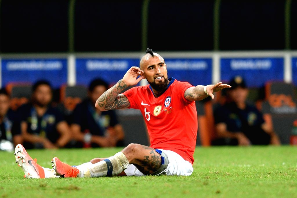SALVADOR, June 22, 2019 (Xinhua) -- Chile's Arturo Vidal reacts during the Group C match between Chile and Ecuador at the Copa America 2019, held in Salvador, Brazil, June 21, 2019. (Xinhua/IANS)