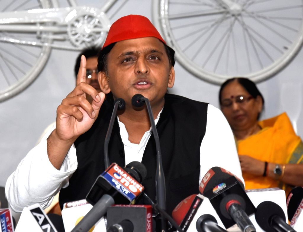 Samajwadi Party chief Akhilesh Yadav addresses a press conference in Lucknow on Oct 12, 2017. - Akhilesh Yadav