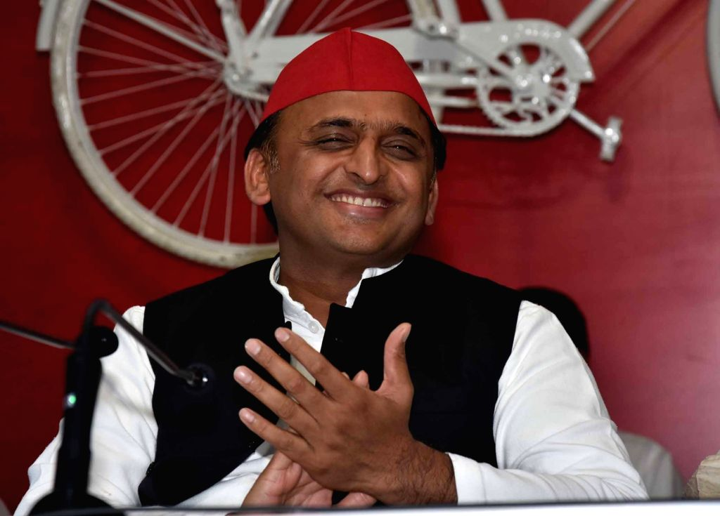 Samajwadi Party chief Akhilesh Yadav addresses a press conference in Lucknow on Aug 26, 2019. - Akhilesh Yadav