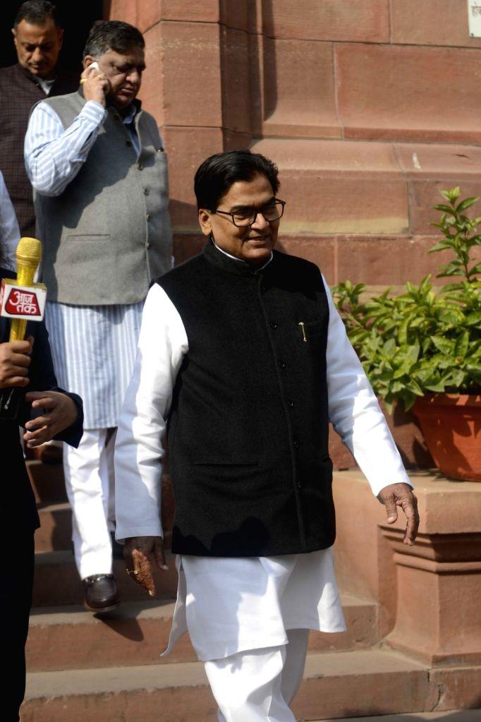Samajwadi Party leader Ram Gopal Yadav at the Parliament in New Delhi on Nov 29, 2016. - Gopal Yadav
