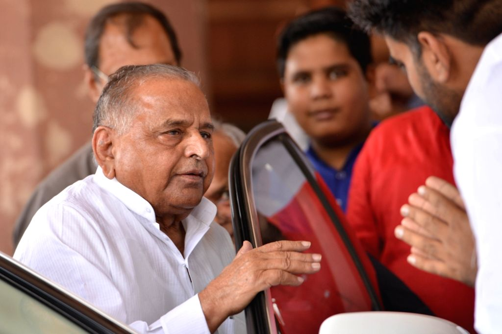 Samajwadi Party MP Mulayam Singh Yadav at Parliament in New Delhi on April 4, 2018. - Mulayam Singh Yadav
