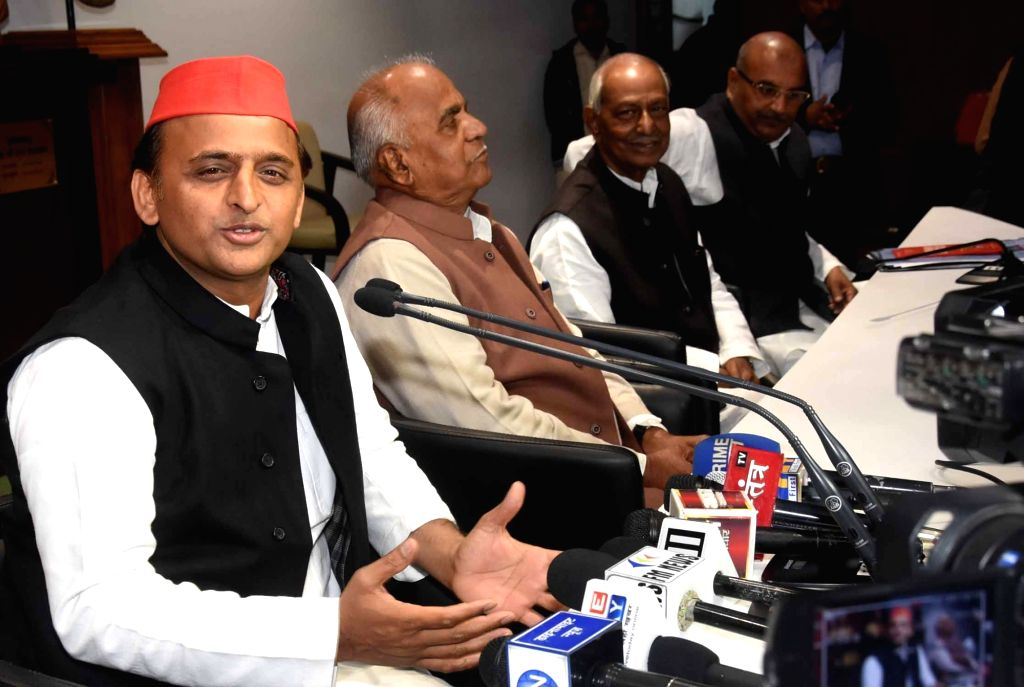 Samajwadi Party President Akhilesh Yadav addresses a press conference in Lucknow on Dec 12, 2018. - Akhilesh Yadav