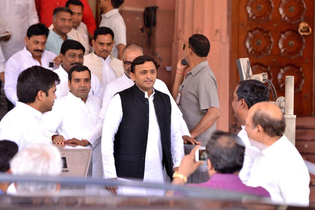Samajwadi Party President Akhilesh Yadav at Parliament in New Delhi on April 4, 2018. - Akhilesh Yadav