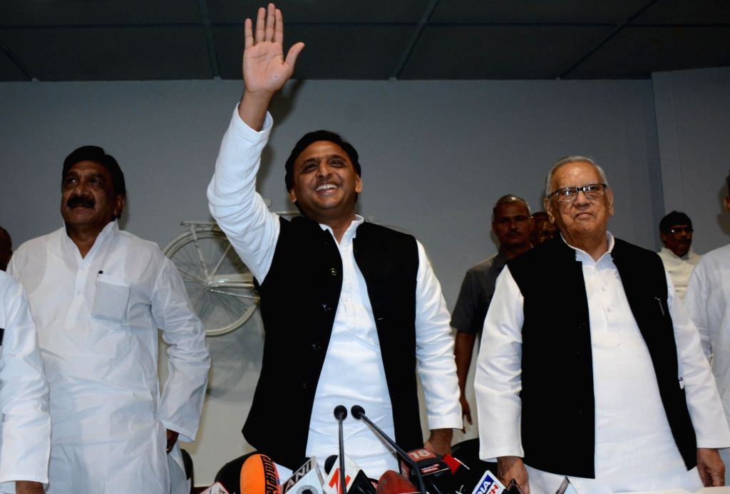 Samajwadi Party president Akhilesh Yadav during a press conference in Lucknow on Aug 18, 2017. - Akhilesh Yadav