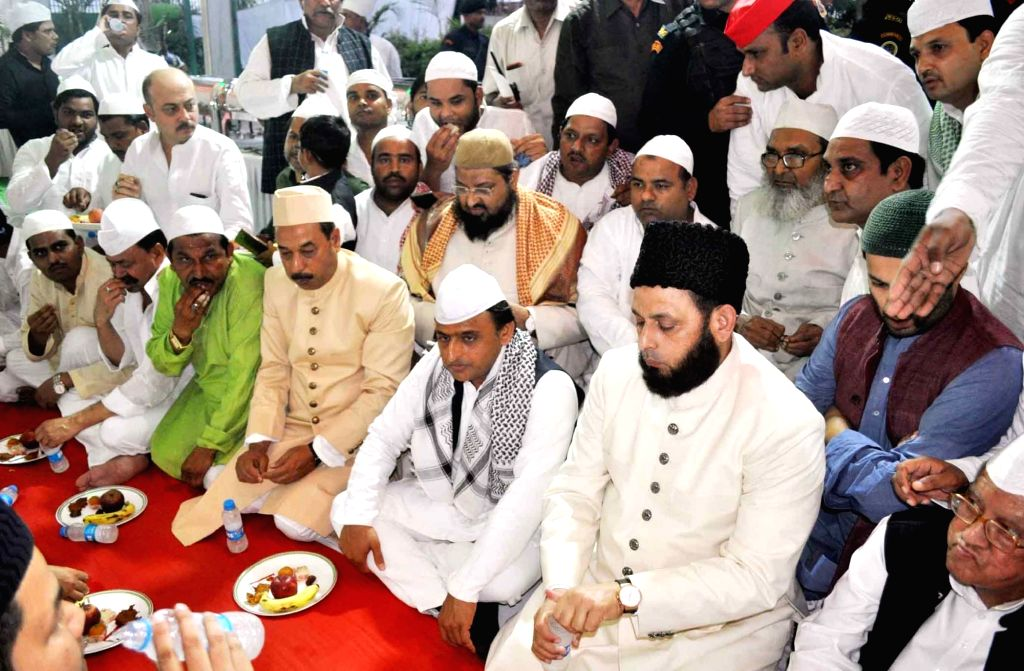 Samajwadi Party (SP) chief Akhilesh Yadav during an Iftar party organised by SP, in Lucknow on June 11, 2018. - Akhilesh Yadav