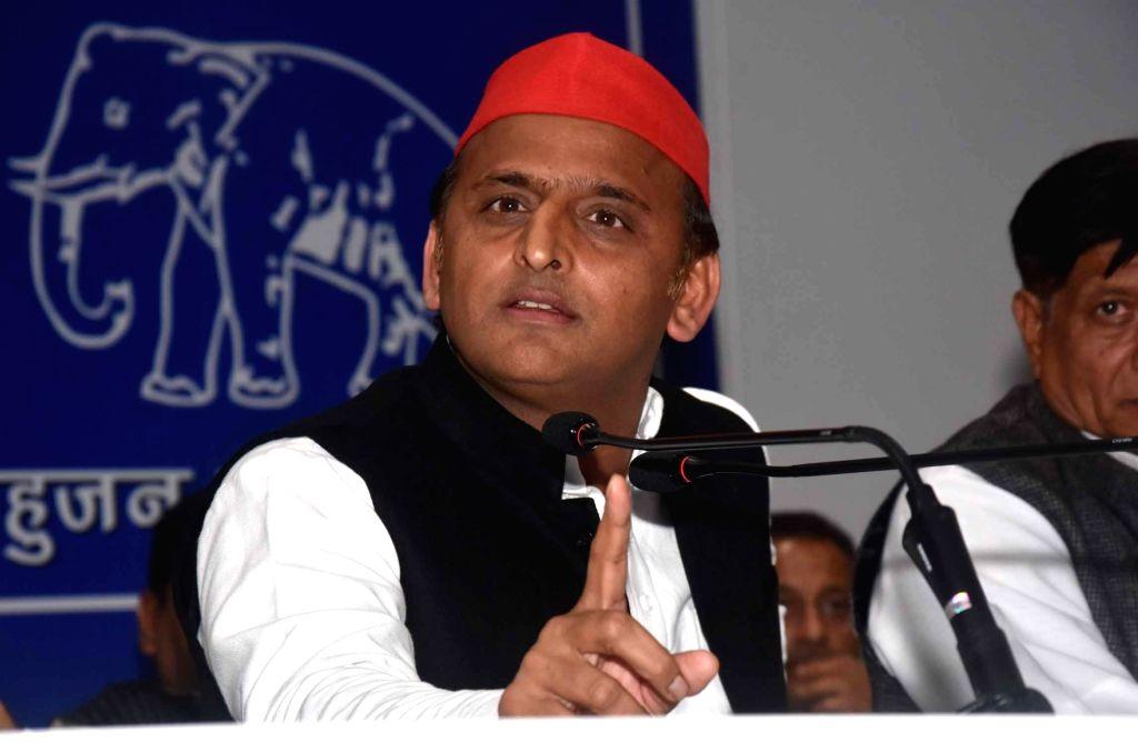 Samajwadi Party (SP) president Akhilesh Yadav addresses a press conference in Lucknow on March 5, 2019. - Akhilesh Yadav