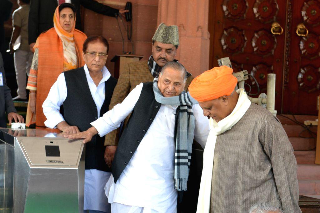 Samajwadi Party supremo Mulayam Singh Yadav and party MP Azam Khan at Parliament in New Delhi on Dec 3, 2019. - Mulayam Singh Yadav and Azam Khan