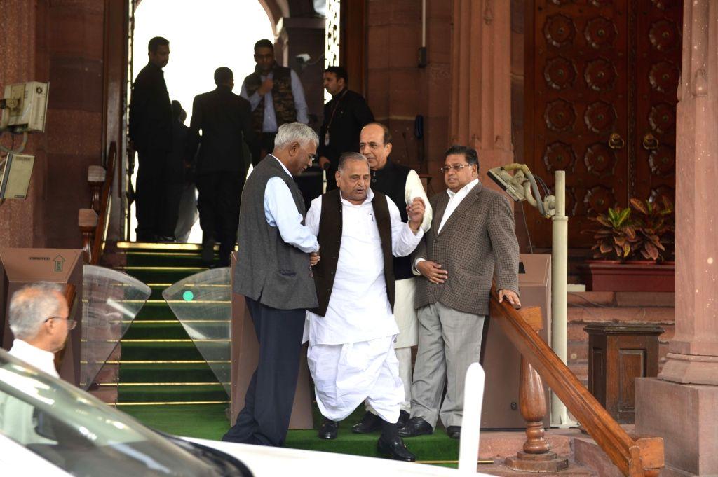 Samajwadi Party supremo Mulayam Singh Yadav at the Parliament in New Delhi, on Dec 9, 2015. - Mulayam Singh Yadav