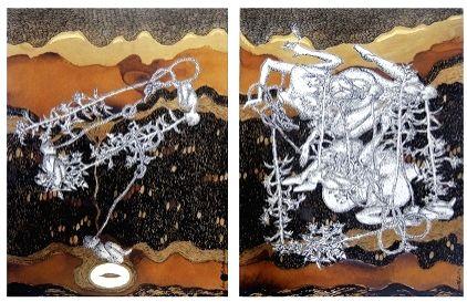 Samanta Batra, Continuum, Ink, tea wash, 22 k Gold leaf on acid free paper, 9 x 12 inches each (diptych), 2013.