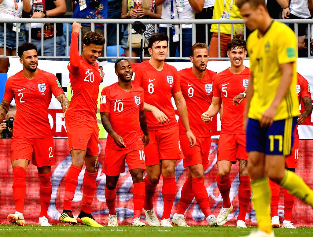 SAMARA, July 7, 2018 - Dele Alli (2nd L) of England celebrates scoring with teammates during the 2018 FIFA World Cup quarter-final match between Sweden and England in Samara, Russia, July 7, 2018.