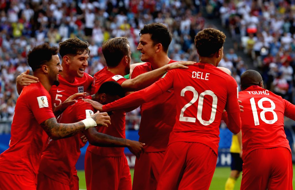 SAMARA, July 7, 2018 - Dele Alli (2nd R) of England celebrates scoring with teammates during the 2018 FIFA World Cup quarter-final match between Sweden and England in Samara, Russia, July 7, 2018.
