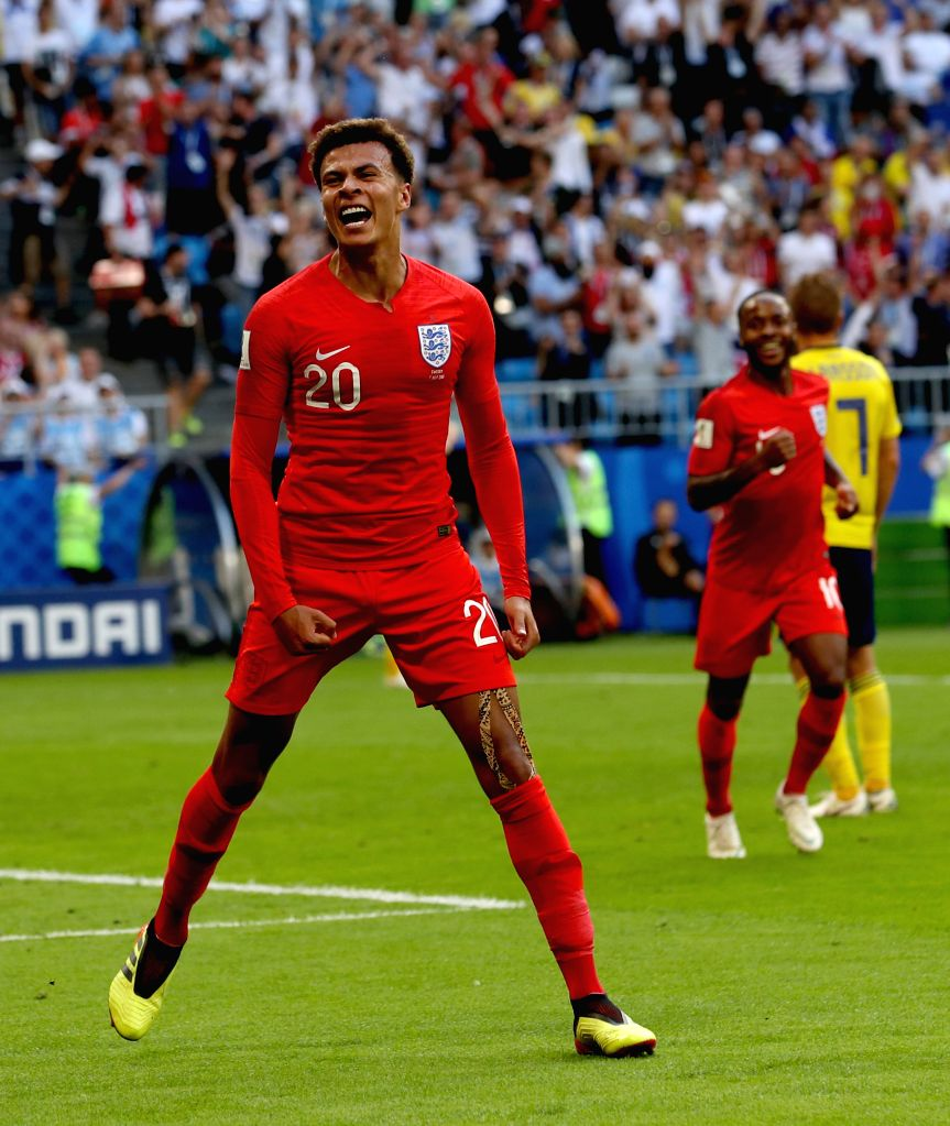 SAMARA, July 7, 2018 - Dele Alli (front) of England celebrates scoring during the 2018 FIFA World Cup quarter-final match between Sweden and England in Samara, Russia, July 7, 2018.