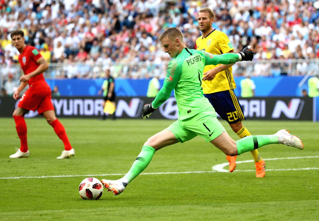 SAMARA, July 7, 2018 - Goalkeeper Jordan Pickford (C) of England competes during the 2018 FIFA World Cup quarter-final match between Sweden and England in Samara, Russia, July 7, 2018.
