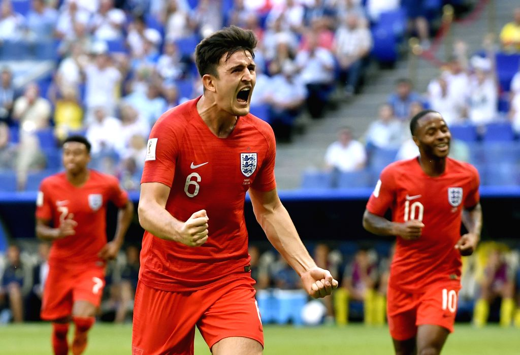 SAMARA, July 7, 2018 - Harry Maguire (C) of England celebrates scoring during the 2018 FIFA World Cup quarter-final match between Sweden and England in Samara, Russia, July 7, 2018.