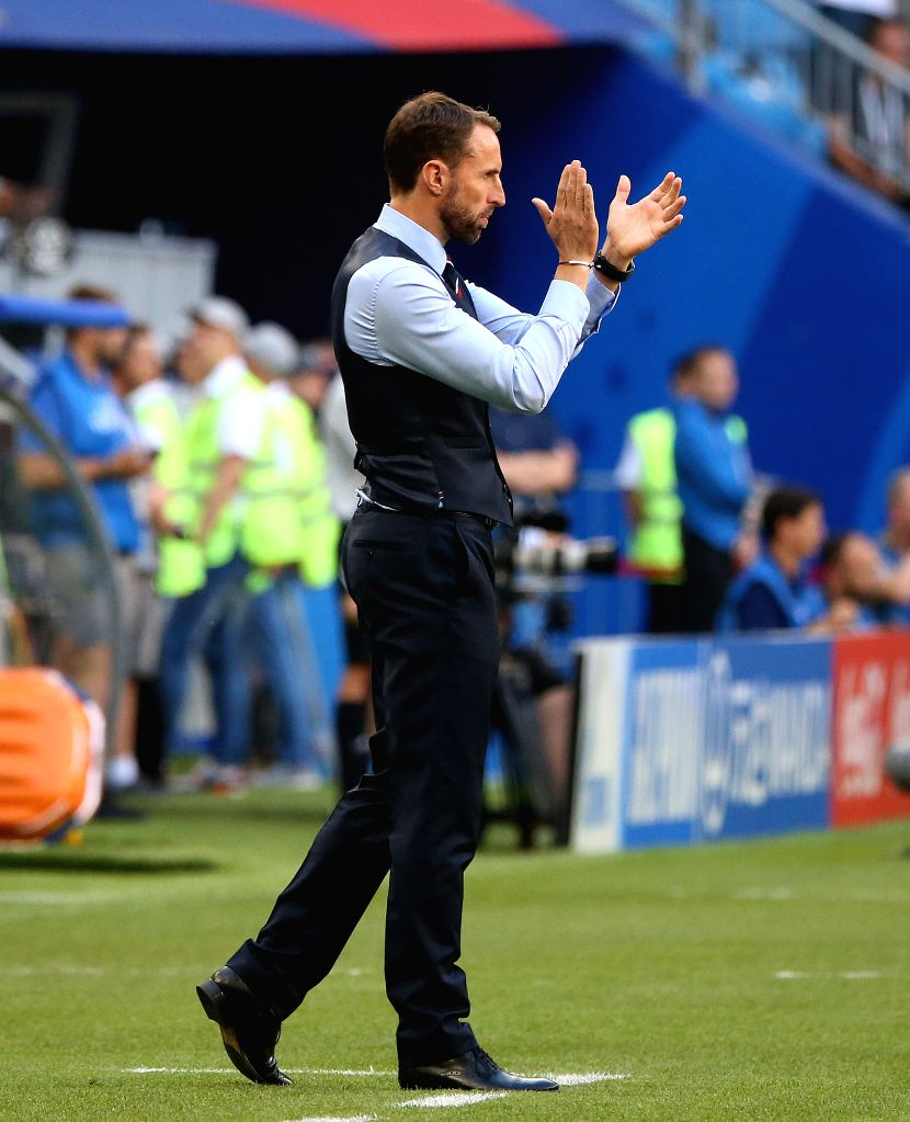 SAMARA, July 7, 2018 - Head coach Gareth Southgate of England is seen during the 2018 FIFA World Cup quarter-final match between Sweden and England in Samara, Russia, July 7, 2018.