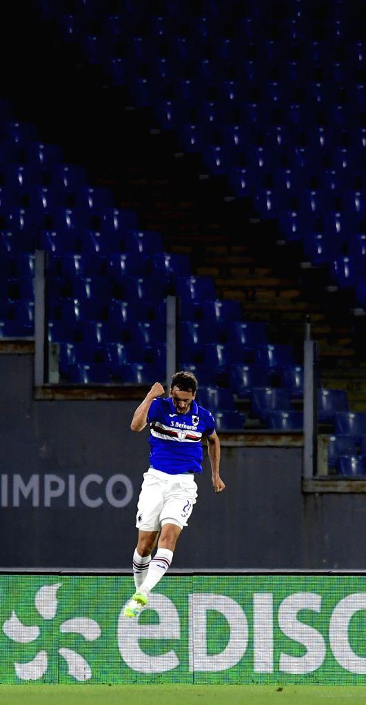 Sampdoria's Manolo Gabbiadini celebrates his goal during a Serie A football match between Roma and Sampdoria in Rome, Italy, June 24, 2020.