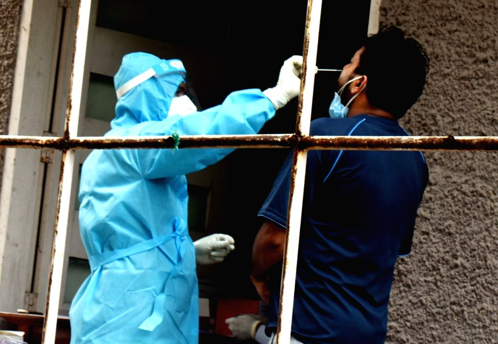 Samples being collected for coronavirus testing at Patliputra Ashok Hotel isolation centre, in Patna on Aug 12, 2020.