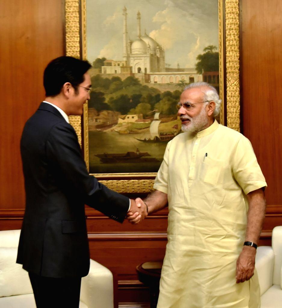 Samsung Electronics Vice Chairman Jay Y Lee calls on Prime Minister Narendra Modi in New Delhi on Sept 15, 2016. - Narendra Modi