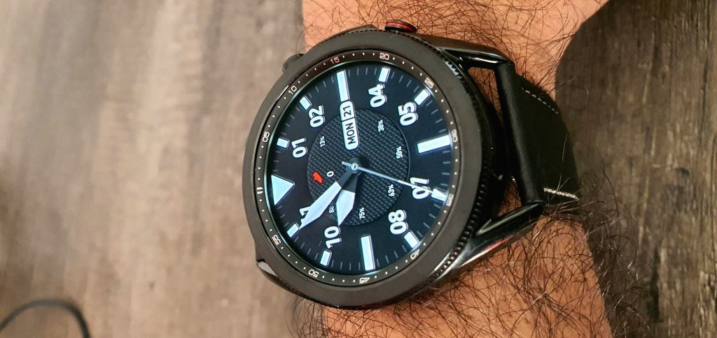 Samsung Galaxy Watch3 comes in two dial sizes41mm and 45mmand is packed with health and fitness features.