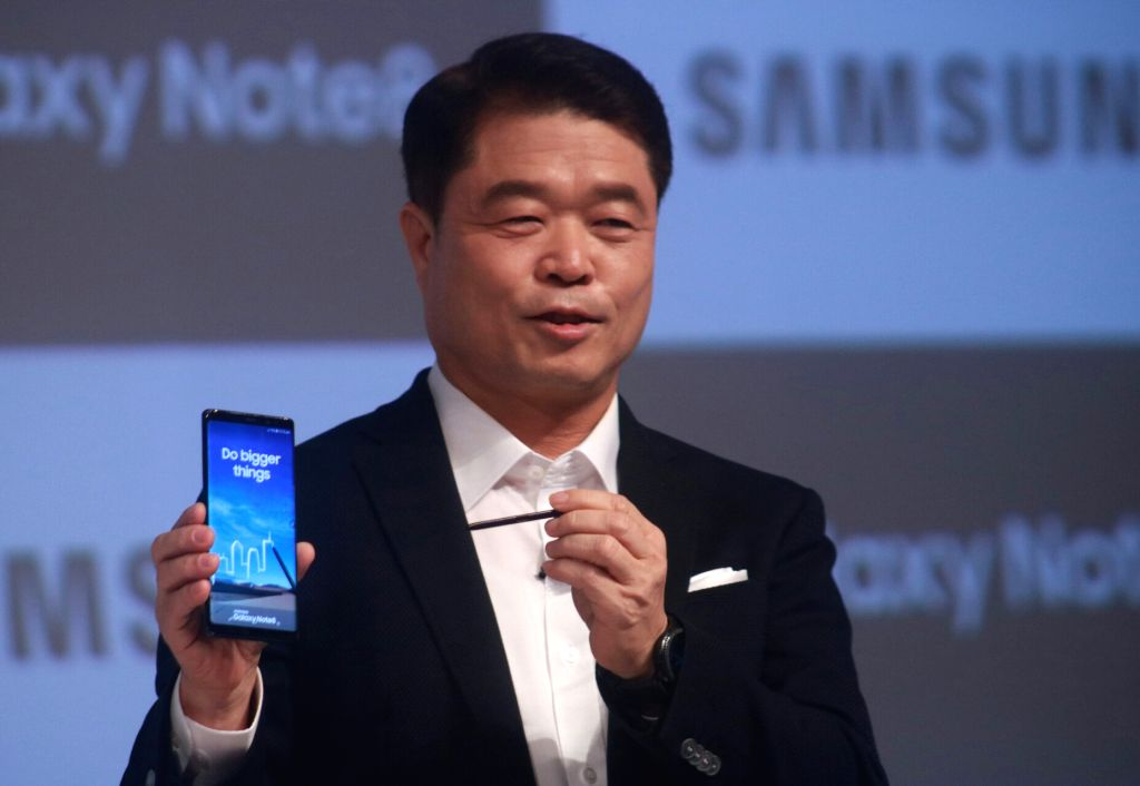Samsung Southwest Asia President and CEO HC Hong during the launch of Samsung Galaxy Note8 smartphone in New Delhi on Sept 12, 2017.