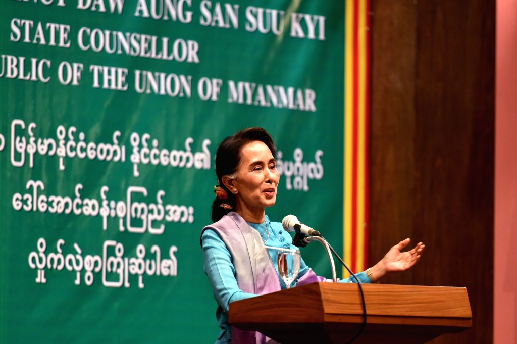SAMUT SAKHON, June 23, 2016 - Myanmar State Counselor and Foreign Minister Aung San Suu Kyi delivers a speech while visiting Myanmar migrant workers in Samut Sakhon province, Thailand, June 23, 2016. ... - Aung San Suu Kyi