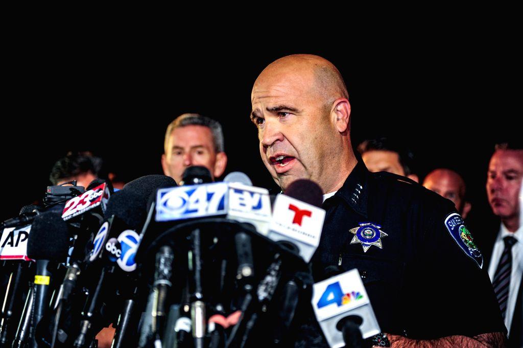 San Bernardino Police Chief Jarrod Burguan briefs the media about the aftermath of a mass shooting in San Bernardino City of Southern California, the United ...