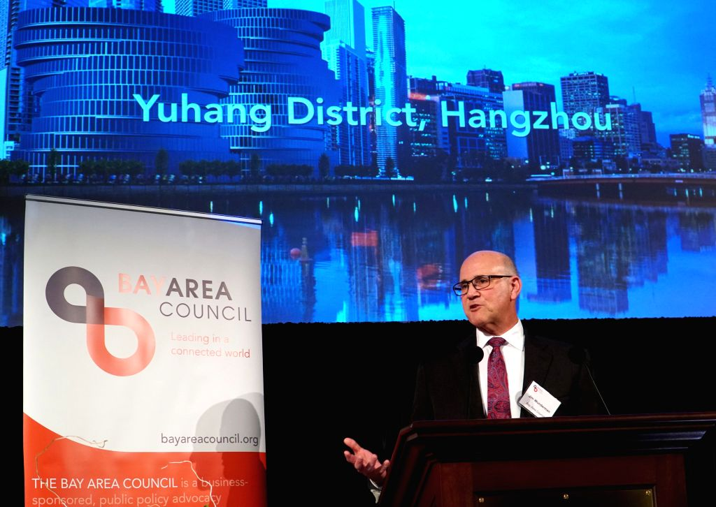 SAN FRANCISCO, Feb. 15, 2019 - Jim Wunderman, president and CEO of the Bay Area Council, speaks at the council's ninth annual Chinese New Year reception to celebrate the Year of the Pig in China's ...