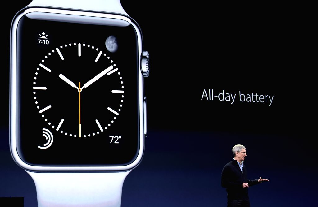 Apple's CEO Tim Cook introduces the Apple Watch during an Apple event in San Francisco, the United States, March 9, 2015.