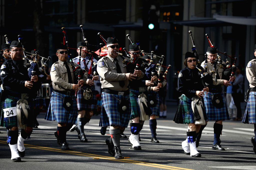 SAN FRANCISCO, Nov. 12, 2019 - A band attends the Veterans Day Parade in San Jose, California, the United States, Nov. 11, 2019.