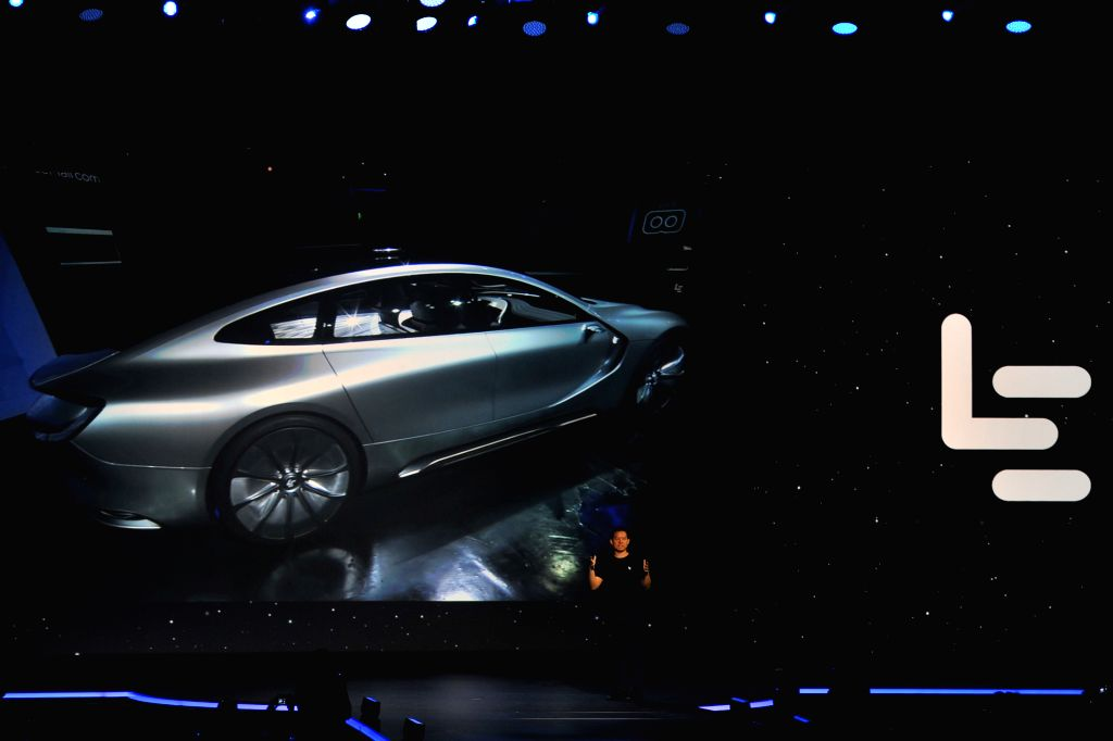 SAN FRANCISCO, Oct. 20, 2016 - CEO of Chinese tech company LeEco Jia Yueting introduces concept self-driving electric vehicle LeSee Pro at the launch event, in San Francisco, the United States, on ...