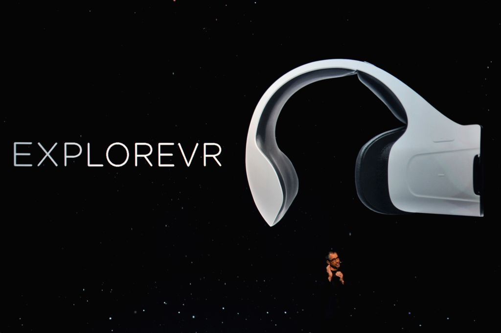 SAN FRANCISCO, Oct. 20, 2016 - Rob Chandrok, chief research and development officer for LeEco's North America operations, introduces the ExploreVR headset at the launch event of Chinese tech company ...