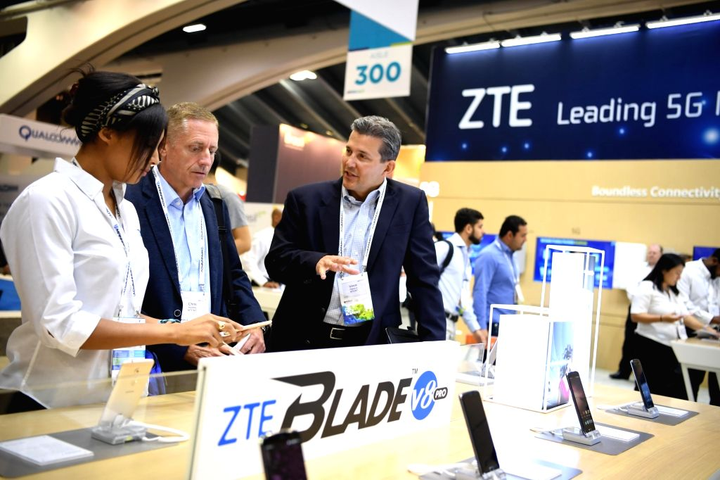 SAN FRANCISCO, Sept. 12, 2017 - People visit the booth of Chinese telecommunication firm ZTE Corporation during the 2017 Mobile World Congress Americas (MWCA) in San Francisco, the United States on ...