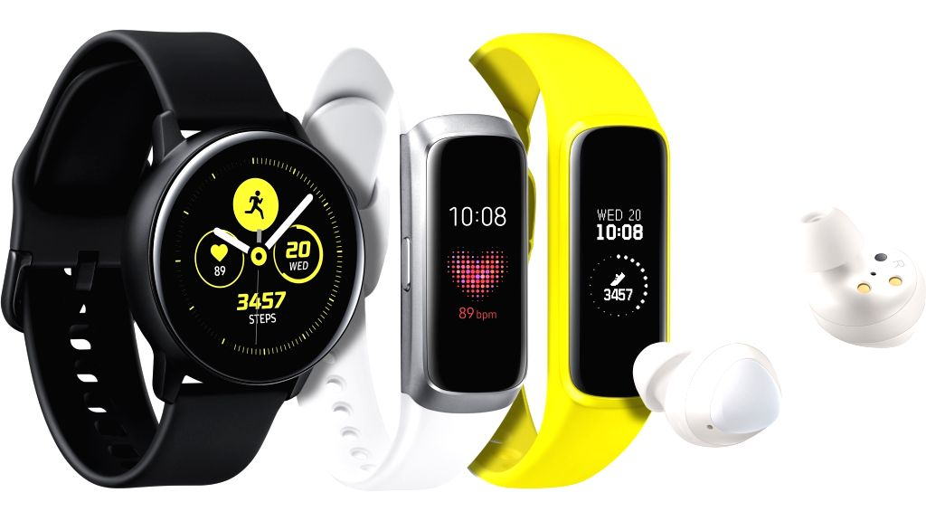 San Francisco: This photo, provided by Samsung Electronics Co., shows its new smart watch, fitness band and wireless earphones called Galaxy Buds, which were unveiled during an Unpacked event in San ...