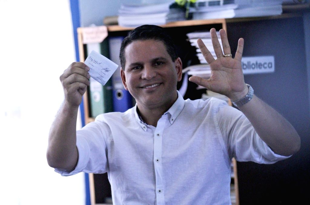 SAN JOSE, April 2, 2018 - Costa Rican presidential candidate Fabricio Alvarado of the National Restoration Party (PRN), casts his vote at a polling station in San Jose, Costa Rica, on April 1, 2018. ...