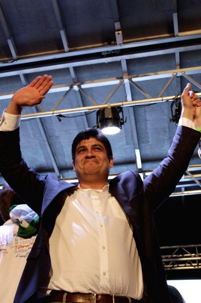 SAN JOSE, April 2, 2018 - Costa Rican presidential candidate Carlos Alvarado celebrates his victory with his supporters in San Jose, Costa Rica, on April 1, 2018. Carlos Alvarado, the candidate from ...